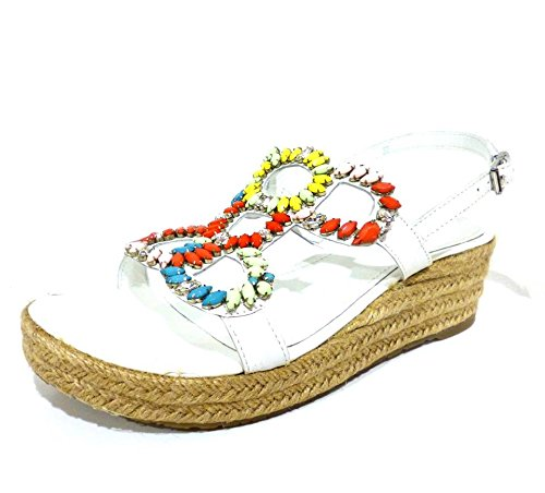 Apepazza FBA06 Faiza Gaucho bianco sandali donna zeppe pelle bianco con strass n° 40