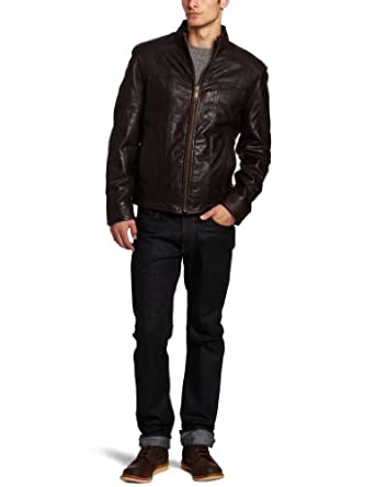 Marc New York by Andrew Marc Men's Cruz Soft Leather Open Bottom Jacket, Brown, XX-Large