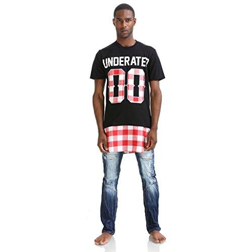 Pizoff scozzese, Unisex, colore: rosso, Bianco e nero, con griglia, a cerniera laterale T Shirts Nero  P3251