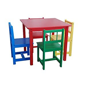 Beck Childrens Primary Color Wooden Table With Four Chairs On Popscreen