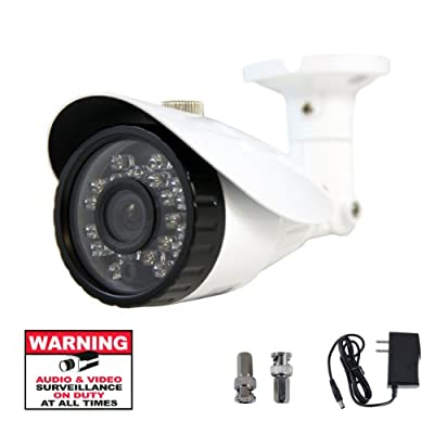 "DigiHiTech 1/3"" 700TVL Outdoor Indoor Weatherproof Day & Night Vision IR 23 LED 3.6mm Color Camera with Power Supply, BNC Connectors and Warning Decal"
