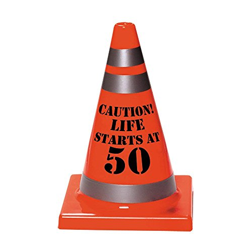"Amscan Sleek Traffic Cone Designed Hat with ""Caution Life Starts At 50"" Print, Orange, 6 1/2"" x 4 1/2"""
