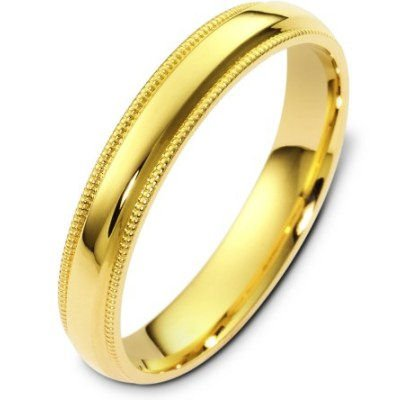 10K Yellow Gold, Comfort Milgrain Wedding Band 4MM (sz 15.5)