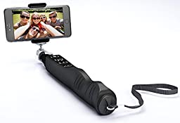 [2016 Design German Technology] Selfezy Selfie Stick - Sturdy Extendable Self-portrait Monopod Pole with Bluetooth Remote Shutter - for iOS and Android Mobile Phones [Black] - GoPro Holder