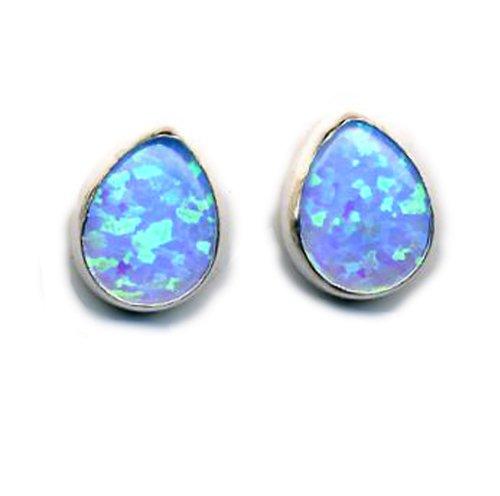 Teardrop Opal Earrings Fire Sparkly Blue Opal Sterling Silver, Post Closure