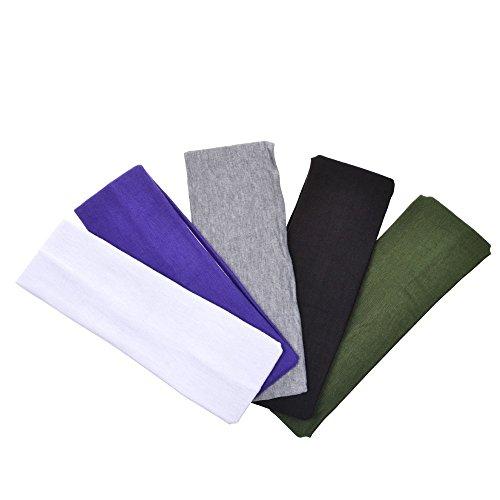 Colori assortiti, 6,35 (2,5 cm larghezza, in cotone elasticizzato per Yoga, Sport-Fascia da testa per fascia per capelli
