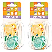 Mee Mee Baby Pacifier With Soft Nipple (Yellow/Green) Pack Of 2