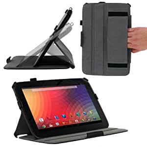 rooCASE Google Nexus 10 Slim-Fit (Black) Folio Case Cover - Support Landscape / Typing Stand / Auto Sleep and Wake