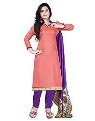 Lookslady Printed Pink Silk Dress Material