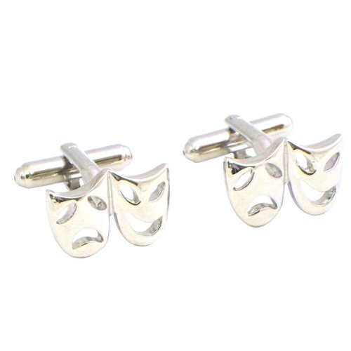 Cufflinks with Comedy and Tragedy Design, Rhodium Plated, 2-Pack