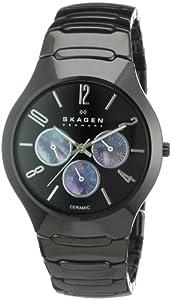 Skagen 817SXBC1 - Reloj unisex de cuarzo, correa de cerámica color negro