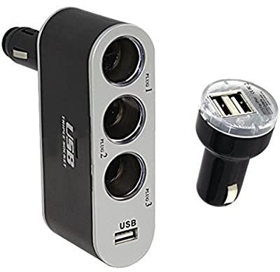 FINIGO 3-Way Multi Socket Auto Car Cigarette Lighter Splitter with USB Port+ dual USB Car Charger Adapter