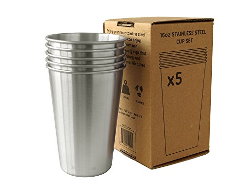 16oz Stainless Steel Drinking Cups - Pack of 5 - Eco Friendly Metal Pint Glass Tumblers for the Family and Kids - Great for Kitchen, Outdoors, Grilling, Traveling, and Camping