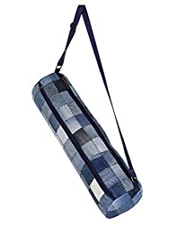 Classic Checkered Blue Cotton & Denim Patch Work Yoga Mat Bag By Rajrang