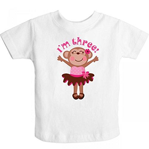 Inktastic Little Boys' Monkey 3Rd Birthday Gift For Girl Toddler T-Shirt 3T White front-656169