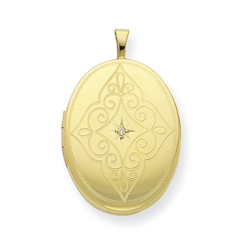 Gold-plated Sterling Silver & Diamond 20mm D/C Oval Locket