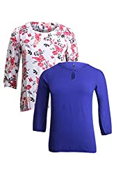 Vvoguish Pack of 2 Casual Tops VV695OWHT1233RBLU-S