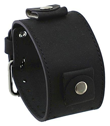 Rev #Cho-Kl Crazy Horse Series Italian Design 24Mm Lug Width Wide Black Leather Cuff Watch Band