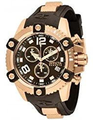 Men's Rose Gold Tone Stainless Steel Case Reserve Arsenal Chronograph Brown Dial Date Display Rubber Strap