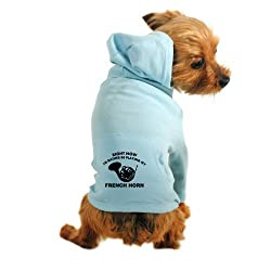 CafePress French Horn silhouette designs Dog Hoodie - S Light Blue [Misc.] from CafePress