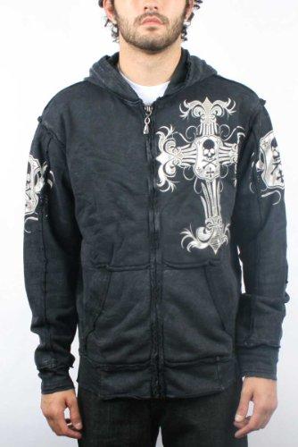 Affliction - Mens Ojeda Zip-Up Hoodie in Black, Size: Medium, Color: Black