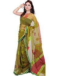 Exotic India Cress-Green Sari With Woven Flowers With Plain Border - Cress Green