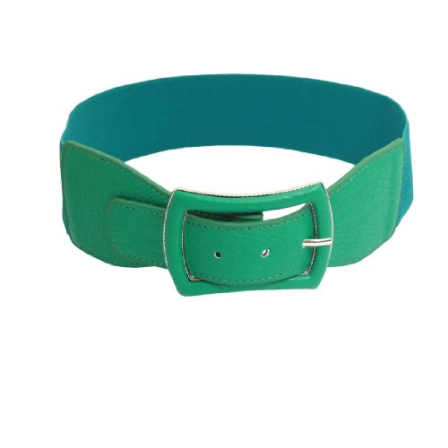 Green Faux Leather Coated Single Prong Buckle Stretch Waistband Belt for Women