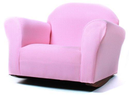 Fantasy Furniture Roundy Rocking Chair Gingham, Pink