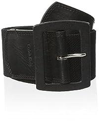 Calvin Klein Women's Linen Stretch Belt,Black,Medium/Large