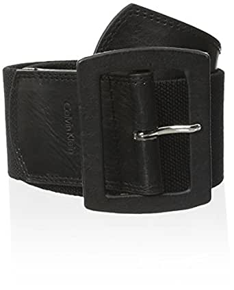 Calvin Klein Women's Linen Stretch Belt,Black,Large/X-Large