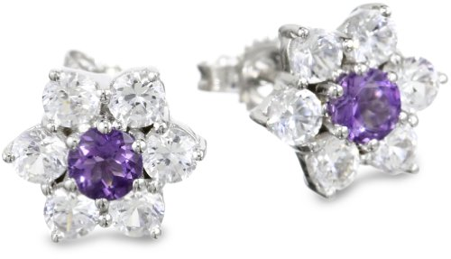 Sterling Silver Round Amethyst and White Topaz Gemstone Flower Cluster Earrings Studs (2.00 cttw)