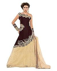 Maruti Suit Women's Velvet & Net Suit Material (15004, Brown, Free Size)