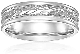 Men's 14k White Gold 6mm Comfort Fit Round Edge Plain with Wheat Fill Design In Center Wedding Band, Size 8.5