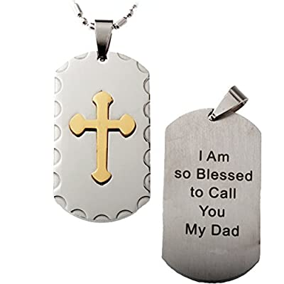 R.h. Jewelry Stainless Steel Pendant, Mens Gold Cross Dog Tag, I Am so Blessed to Call You My Dad.