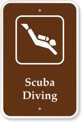"Scuba Diving (With Graphic) Sign, 18"" X 12"""