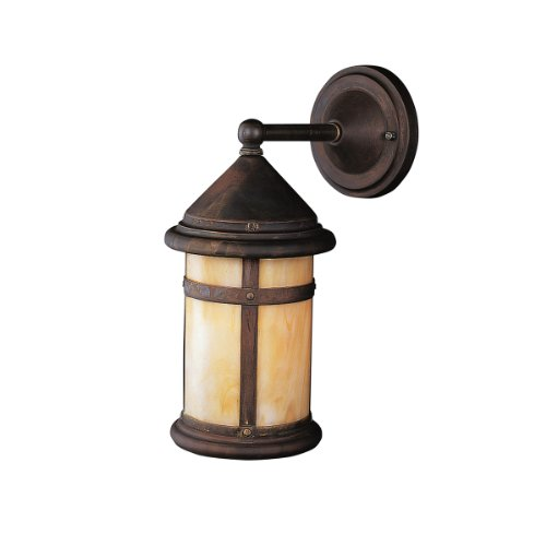 Kichler Lighting 9646CV Tularosa 1-Light Incandescent Outdoor Wall Mount, Canyon View with Honey Opalescent Glass, 17-Inch