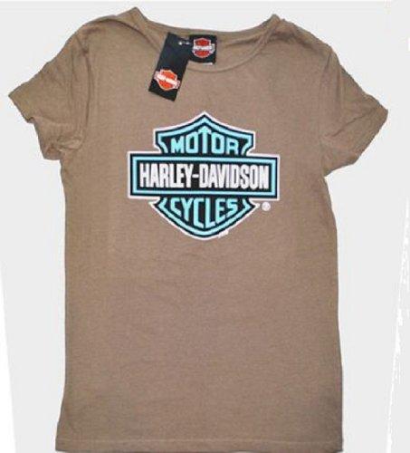 House of Harley Women's T-Shirt. All Cotton. Blue H-D® Bar & Shield Logo. 302908860 (Medium)