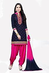 Black & Pink Cotton Salwar Suit Dress Material Suit