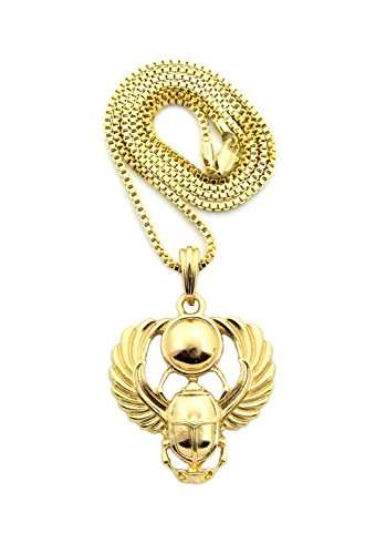 [Polished Extended Wing Scarab Beetle Pendant w/ 24