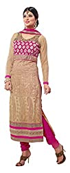 Rudra Fab Cream Embroidered Georgette Semistitched Salwar suit