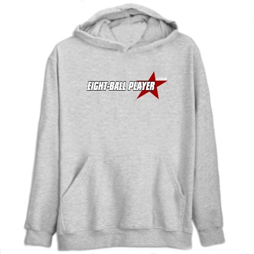 Eight-Ball Player Usa Star Sports Mens Hoodie (Heather Gray, Size Large)