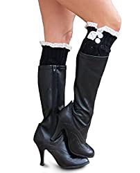 Lace Boot Socks, Leg Warmers with 2 Buttons by Sweetly Savvy (Black)