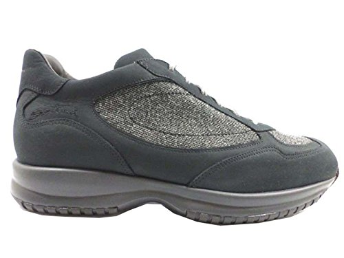 scarpe uomo SANTONI 44 sneaker camoscio tessuto blu grigio AZ271
