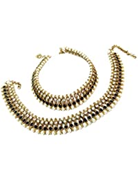 Glittering World Designer Black Stone And Pearl Alloy Crystal Anklets For Women