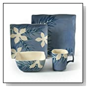 16-Piece Square Reactive Glaze Stoneware Dinnerware Set