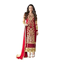 Feeldeal Georgette Embroidered Semi-stitched Salwar Suit Dupatta Material