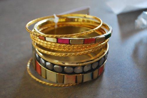 Designer Inspired 9pc Bangle Multi Color Gold & Orange and Green Bracelet Set