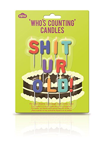 "NPW - Candeline per compleanno con frase in lingua inglese ""Shit Ur Old"""