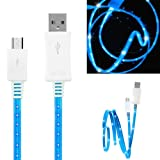 Wayzon Quality Blue LED Visible Sparkling Flat High Speed Sync Micro USB Data Cable Lead Charger Suitable For Samsung Focus S I937 / Galaxy 551 / A / Ace 2 I8160 / Duos I589 / S6802 / Plus S7500