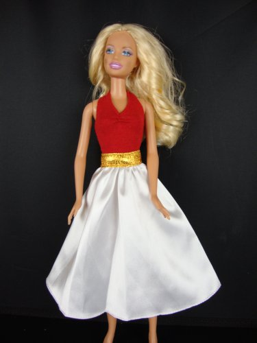 3 Pc SET White Skirt and Red Halter Top and Detactable Gold Belt Great Seperate or Together Made to Fit the Barbie Doll